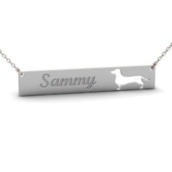 Sterling Silver DACHSHUND Dog Name Bar Necklace