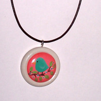 Hand Painted Wooden Pendant Necklace | Luulla