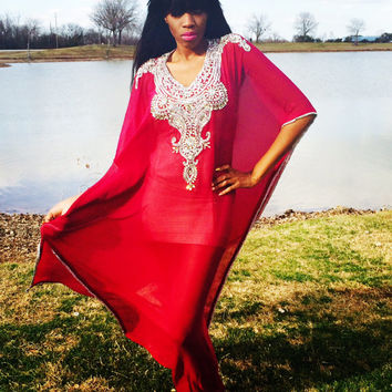 RASPBERRY with Embellished Design Hand Made Kaftan-One Size
