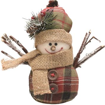 "5.5"" Green  Brown and Red Plaid Snowman with Hat and Scarf Table Top Christmas Figure"
