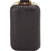 Leather Sparkle Evening Minaudiere, Black - Halston Heritage