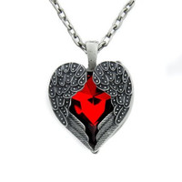 Fallen Dark Angel Wings & Heart Necklace Gothic Red Stone