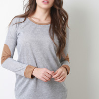 Suede Accent Long Sleeve Knit Top