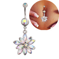 Medical Steel Crystal Rhinestone Belly Button Ring Dangle Navel Body Jewelry Piercings Tassel