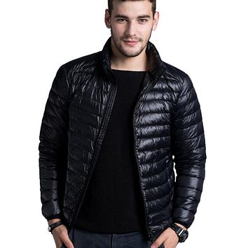 Men Casual Warm Jacket / Solid Thin Breathable Winter Jacket