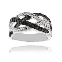 Sterling Silver Black Diamond Accent Braided Design Ring | Overstock.com