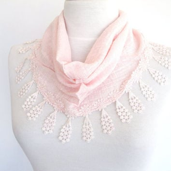 Light Pink Cotton Scarf With Lace, Gift, Women, Headband, Cowl