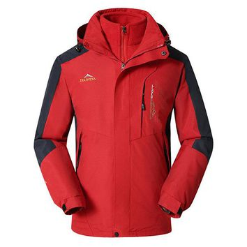 Two Pieces Outdoor Skiing Climbing Water Repellent Detachable Hood Jackets for Men