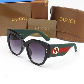 Gucci Fashion Personality Multicolor Stripe Little Bee Big Frame Sunglasses Glasses