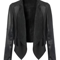 Black Long Sleeve Tassels Detail Faux Leather Biker Jacket