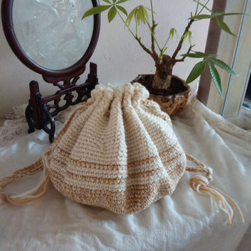 Handmade Crocheted Cushion Bag. Drawstring Bag. Fashion Bag. Women's Bag, Gift Ideas,Christmas, Valentine's Day, Mother's Day