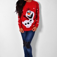 Olaf Red Christmas Jumper   Pink Boutique