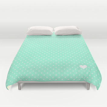 Mint Green and White Polka Dot Duvet Cover by Kat Mun