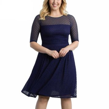 dotty Plus Size Retro Swing Dress polka Dot Half Sleeve Lace Summer Party A-line Dress 1950 Style Vintage O-neck blue red sheer