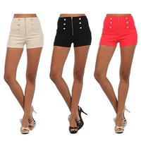 Sexy Zip Front Cuffed Button Trimmed Stretch Cotton Skinny High Waist Short Pant