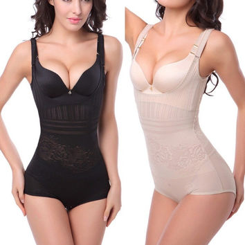 Women Sexy Thin Waist Cincher Black White Corset Underbust Full Body Tummy Control Shaper Underwear = 5659259905