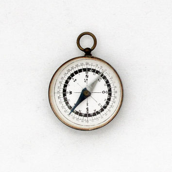 1950s Compass Pendant / Vintage German Locket Compass Fob