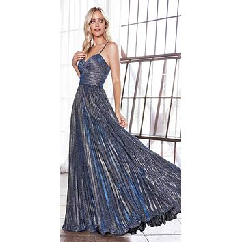 Long A-Line Pleated Dress Metallic Navy Blue Glitter Finish Sweetheart Neckline