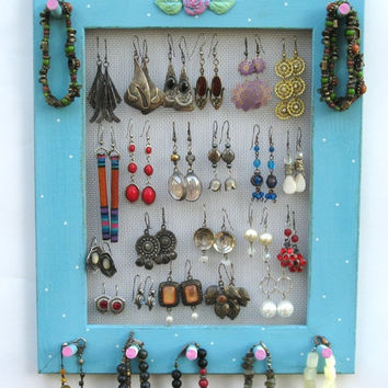 JEWELRY ORGANIZER HOLDER rack Turquoise Shabby Chic