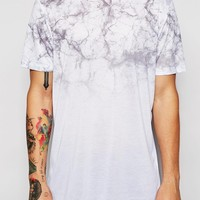 ASOS Longline T-Shirt With Marble Print Yoke In Relaxed Skater Fit