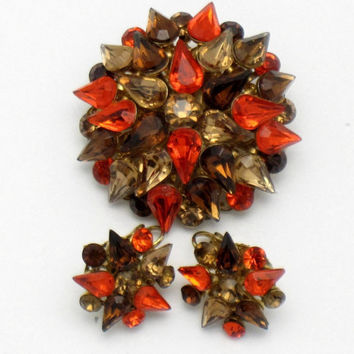 Vintage Brooch Pin Earring SET Topaz Orange Amber Rhinestone Dimensional