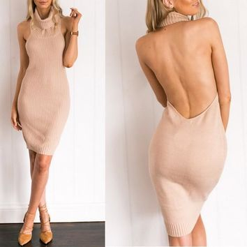 Streetstyle  Casual Pink Plain Backless Bodycon High Neck Halter Neck Sleeveless Boutique Sweater Mini Dress