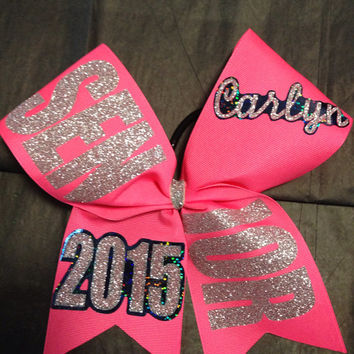 "Senior offset bow 2015, 2016 etc personalized basic cheer bow 3"" ribbon with name"