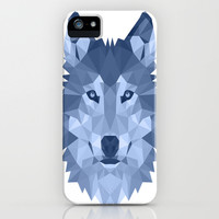Wolf Geometric Blue iPhone & iPod Case by Carma Zoe