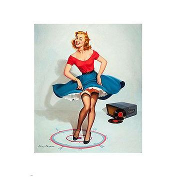 fun-loving SEXY pin-up GIRL DANCING POSTER 24X36 redhead LIFTING skirt HOT!