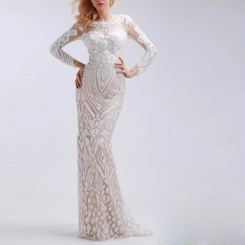 White Straight Sequined Long Evening Dresses with Sleeve Scoop Neck with Tulle Floor Length Formal Prom Dresses