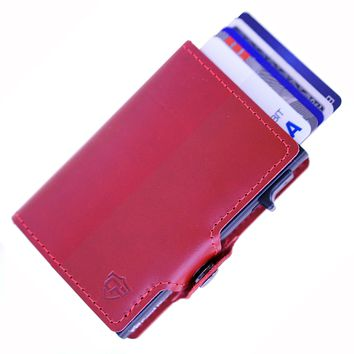 Card Blocr RFID Blocking Credit Card Wallet Red Leather with Side Slide Trigger & Snap Closure