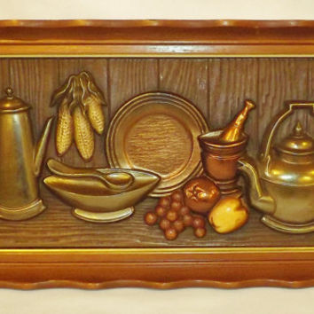 Vintage Turner Wall Accessory 3d Wall Hangings Wood Frames Hand Colored Kitchen Decor Set Of