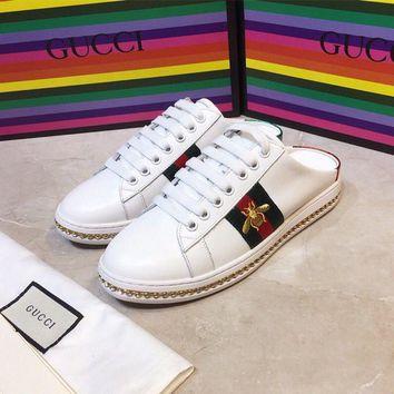GUCCI Ace leather sneaker slipper with crystals