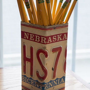 Nebraska License Plate Pencil Holder - Pencil Cup - Unique Pencil Cup - Desk Accessories - Office Decor - Pen Cup - Pen Holder - Job Gift