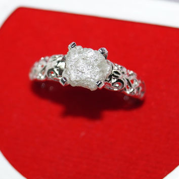 Rough diamond ring Raw Uncut diamond Ring wedding ring Rustic diamond ring Natural diamond ring, White diamond ring 925 sterling silver Ring