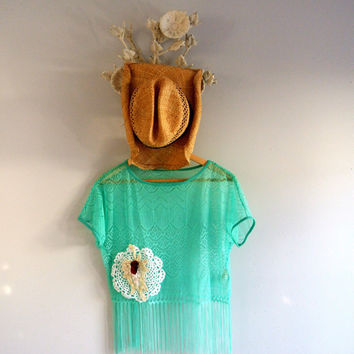 Lace fringe shirt, mint green top, boho chic, gypsy cowgirl glam, shabby, RESERVED, country chic, true rebel