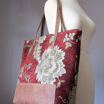 Carpet Tote Bag, Jacquard Leather Shoulder Tote Bag, Tote, Zippered Tote, Gypsy bag, Bohemian Bag, Shopper bag, Handmade by VitalTemptation