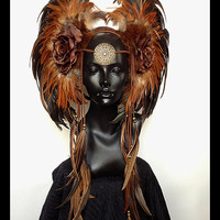 MADE TO ORDER Large Brown & Rust Warrior Headdress