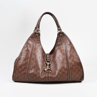 "Gucci Brown ""Guccisima"" Leather ""Large Joy"" Hobo Bag"