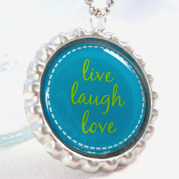 Live Laugh Love Bottle Cap Necklace Inspirational Saying Positive Words Encourage Pendant Fashion Jewelry