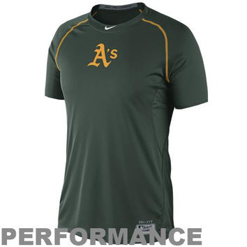 Nike Oakland Athletics Pro Combat Core Raglan Performance T-Shirt - Green