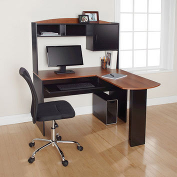 Walmart: Mainstays L-Shaped Desk with Hutch, Multiple Finishes