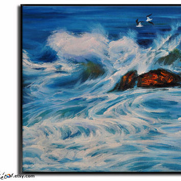 Oil Painting, Landscape Painting, Seascape Art, Original Painting Canvas Art  Wall Art, Canvas Painting Ocean Art,