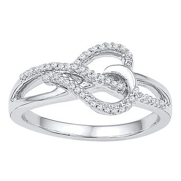 10kt White Gold Women s Round Diamond Heart Infinity Ring 1 6 Cttw - FREE  Shipping b17c5a354b