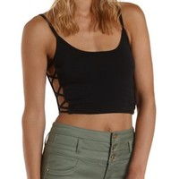 Caged-Side Cotton Crop Top by Charlotte Russe