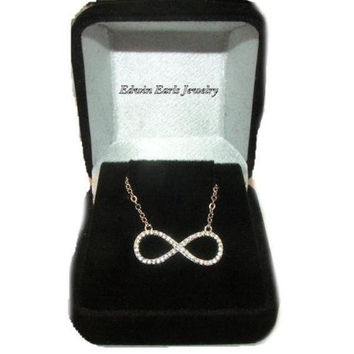 Celebrity Style Cz Infinity Pendant Necklace 925 Sterling Silver