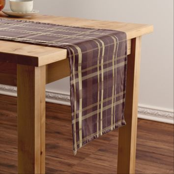 Brown Plaid Short Table Runner