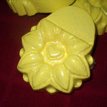Bright yellow flower concrete planter feet with heart center, patio decor, yard art, plant stand, valentines gifts