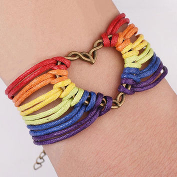 Handmade Thread Bracelet Gay Pride Leather Bracelets Love Jewelry Rainbow Friendship Equal Lesbian LGBT Wristband for Men Women