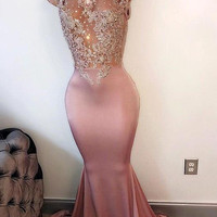 Pink Sleeveless Mermaid Long Prom Dresses 2017 High Neck Court Train Beaded Crystals Appiques See Through Back Vestido de Fiesta